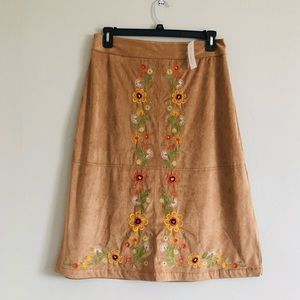 New York & Company floral embroidered suede skirt